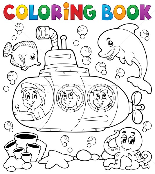 книжка-раскраска подводная лодка воды книга лице ребенка Сток-фото © clairev