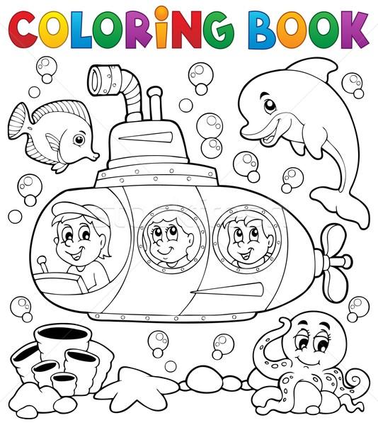 Boyama Kitabi Denizalti Su Kitap Yuz Cocuk Vektor