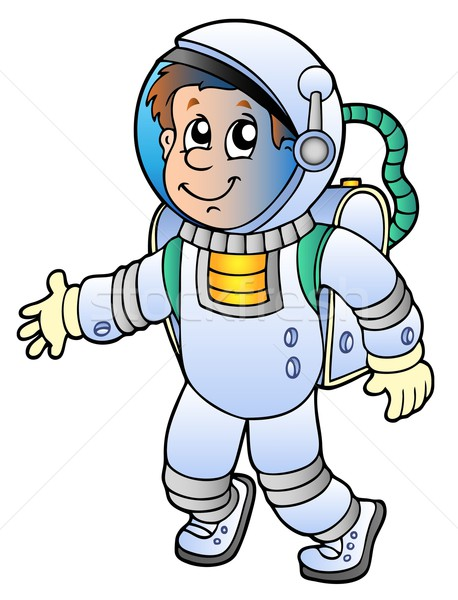 Cartoon astronaut witte man technologie ruimte Stockfoto © clairev
