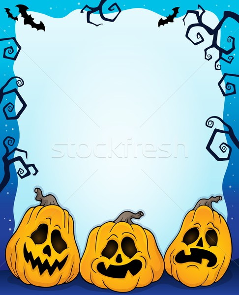 Outlined pumpkins Halloween frame 2 Stock photo © clairev