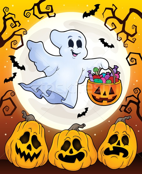 Halloween theme with floating ghost Stock photo © clairev