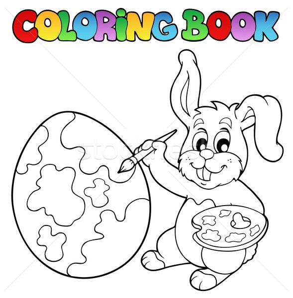 Coloring book with bunny artist Stock photo © clairev