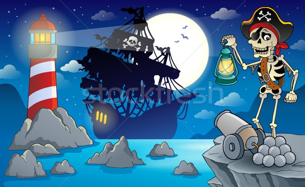 Noite pirata cenário água mar pistola Foto stock © clairev