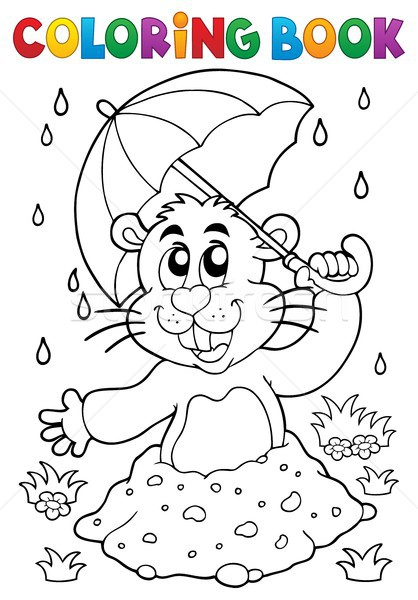 Coloring book groundhog theme image 3 Stock photo © clairev