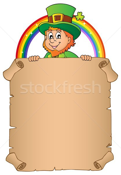 Leprechaun holding parchment image 2 Stock photo © clairev