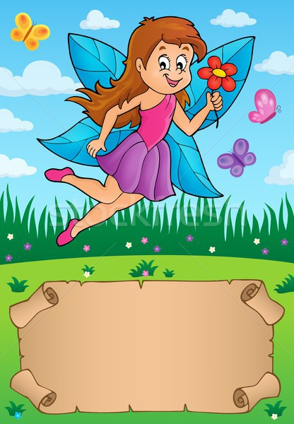 Klein perkament fairy papier meisje haren Stockfoto © clairev