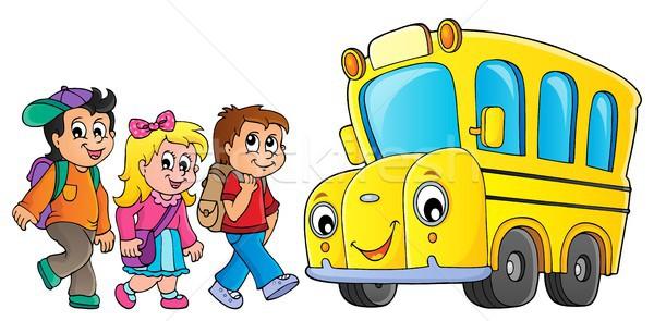 子供 スクールバス 画像 眼 顔 幸せ ストックフォト © clairev