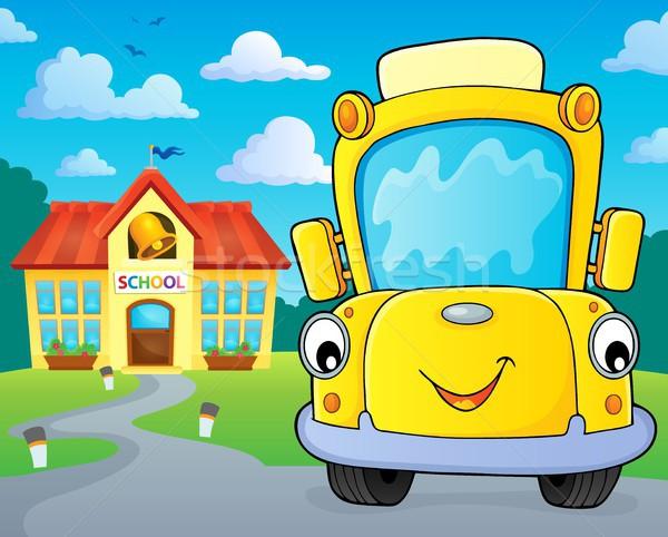 Schoolbus afbeelding glimlach oog gezicht gebouw Stockfoto © clairev