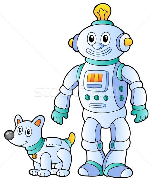 Cartoon retro robot glimlach ontwerp technologie Stockfoto © clairev