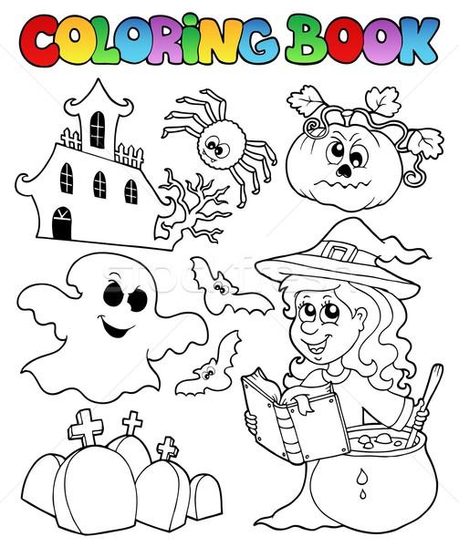 Kifestőkönyv halloween téma könyv festék művészet Stock fotó © clairev