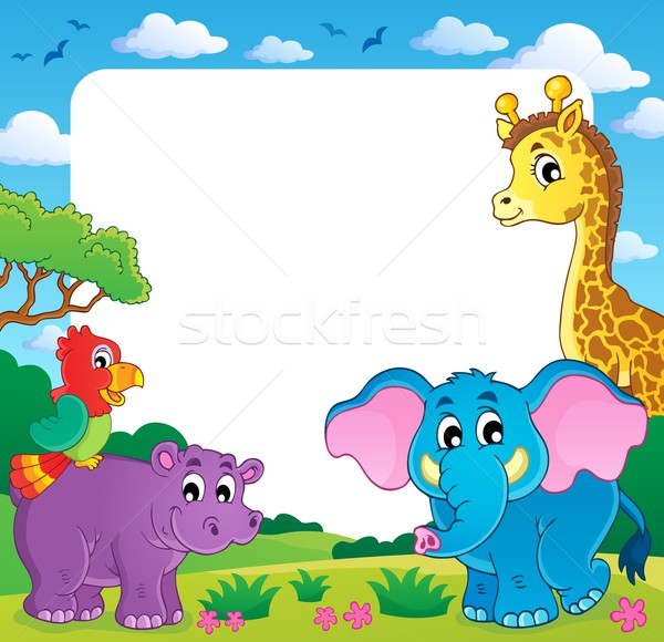 Frame with African fauna 1 Stock photo © clairev