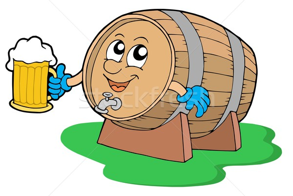 Smiling wooden keg holding beer Stock photo © clairev