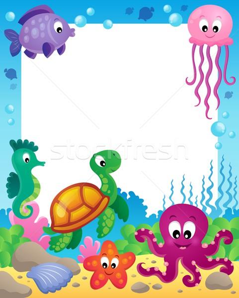 Stock photo: Frame with underwater animals 3