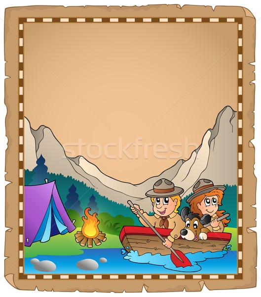 Parchment with two scouts in boat Stock photo © clairev