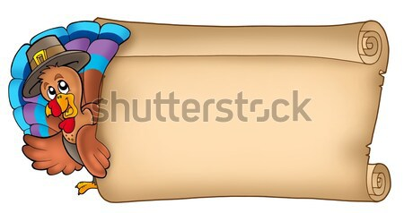 Stock photo: Parchment with lurking pirate girl