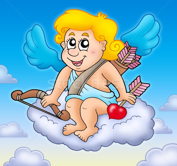 Happy Cupid on sky Stock photo © clairev