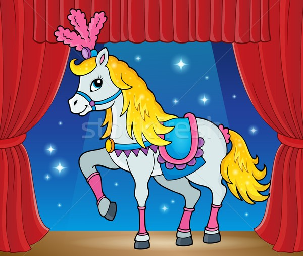 Foto stock: Circo · cavalo · imagem · arte · cortina · animal