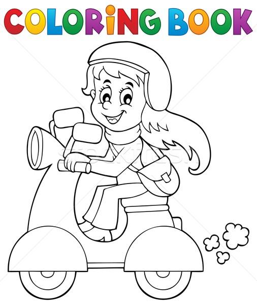 Coloring Book Girl On Motor Scooter Vector Illustration C Klara