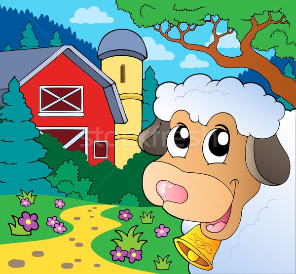 Farm theme with lurking sheep Stock photo © clairev