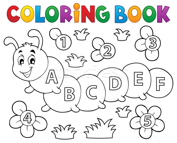 Coloring book caterpillar with letters Stock photo © clairev