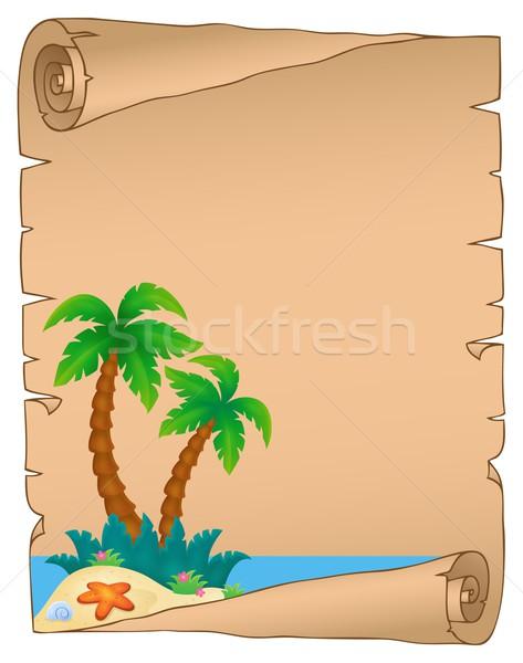пергаменте Тропический остров природы дизайна искусства Palm Сток-фото © clairev