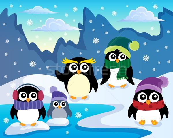 Stylized winter penguins theme 1 Stock photo © clairev