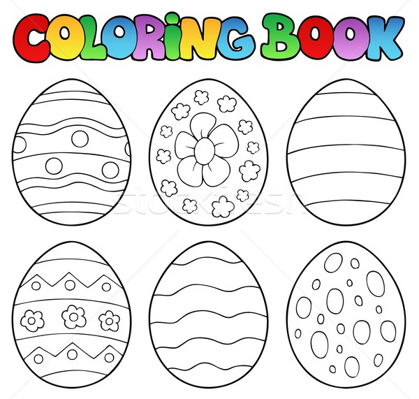 Coloring book with Easter eggs Stock photo © clairev