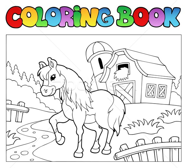 Coloring book with farm and horse Stock photo © clairev