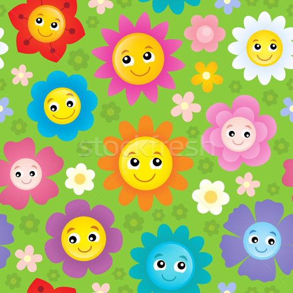 Happy flower heads seamless background 1 Stock photo © clairev