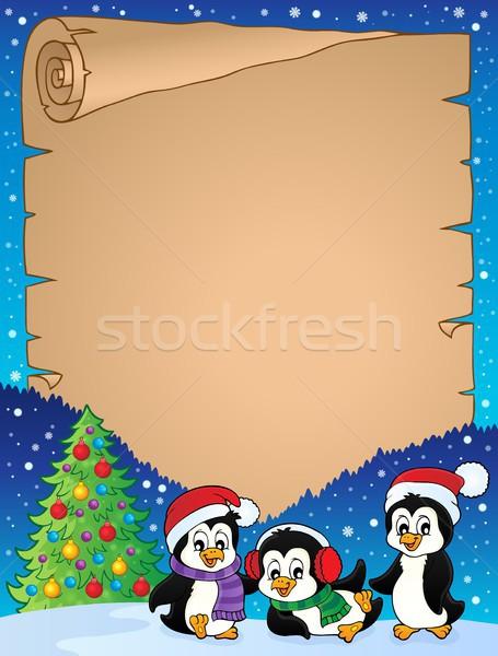 クリスマス 羊皮紙 紙 芸術 冬 鳥 ストックフォト © clairev