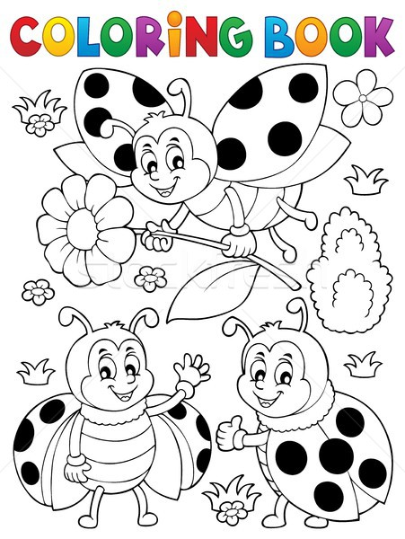 Coloring book ladybug theme 7 Stock photo © clairev