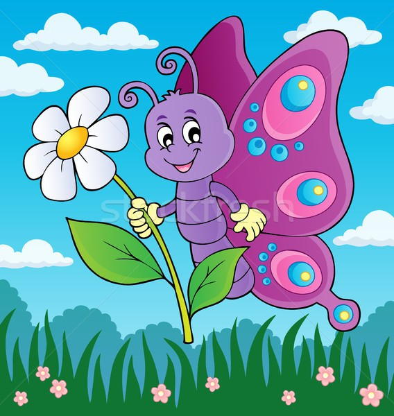 Happy butterfly holding flower theme 3 Stock photo © clairev