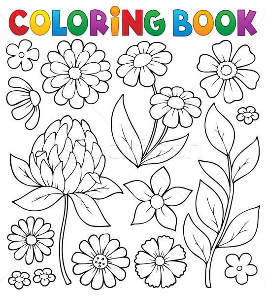 Livro para colorir flor tópico flores primavera livro Foto stock © clairev