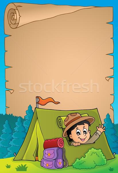 Pergaminho escoteiro tenda papel arte menino Foto stock © clairev