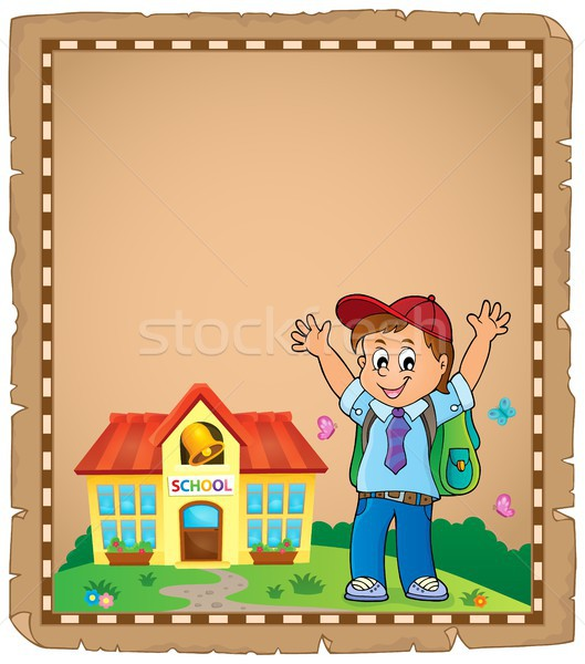 Boldog fiú pergamen papír diák művészet Stock fotó © clairev