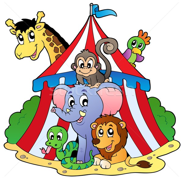Various animals in circus tent Stock photo © clairev