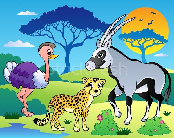 Manzara hayvanlar doğa dizayn sanat Stok fotoğraf © clairev