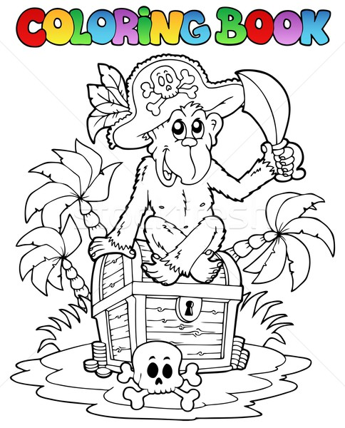 Coloring book with pirate theme 3 Stock photo © clairev