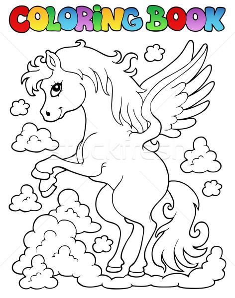 Coloring book pegasus theme 1 Stock photo © clairev