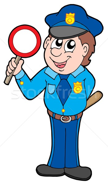 Cute policeman with stop sign Stock photo © clairev