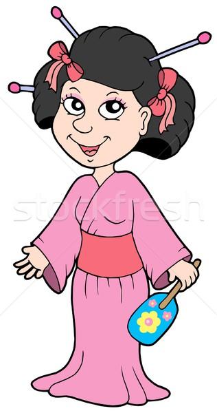 Gésa rózsaszín ruha nő lány haj Stock fotó © clairev