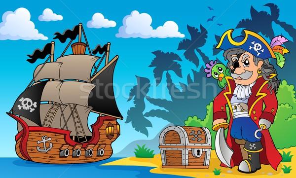 Pirata costa legno mare arte spada Foto d'archivio © clairev
