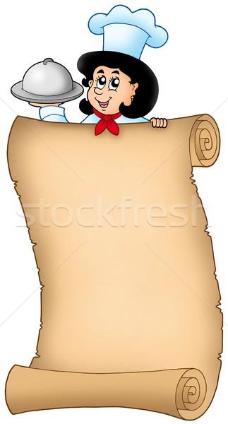 öreg tekercs nő szakács szín illusztráció Stock fotó © clairev
