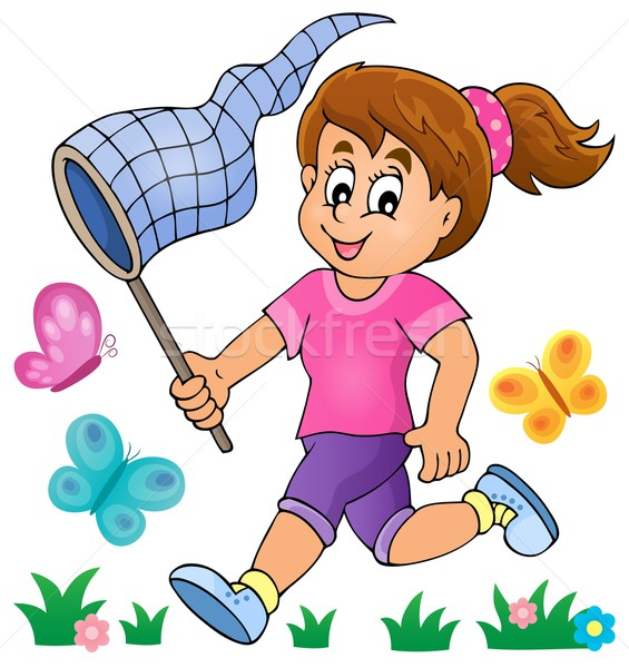 Girl chasing butterflies theme image 1 Stock photo © clairev