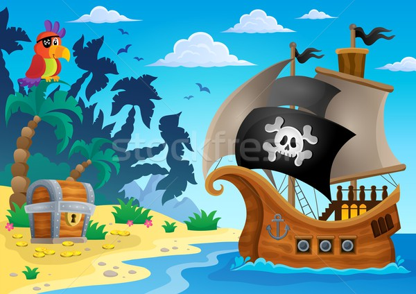 Foto stock: Pirata · navio · tópico · imagem · água · mar