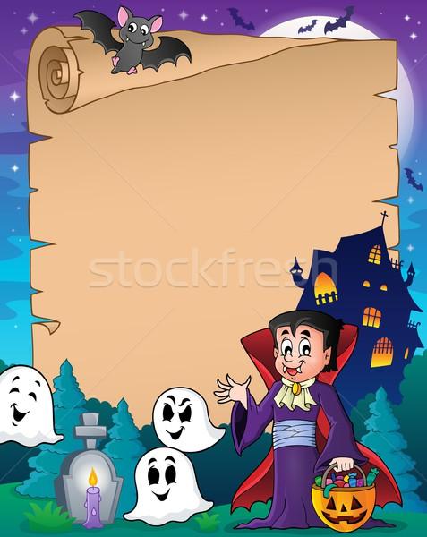 Pergaminho halloween vampiro papel casa arte Foto stock © clairev