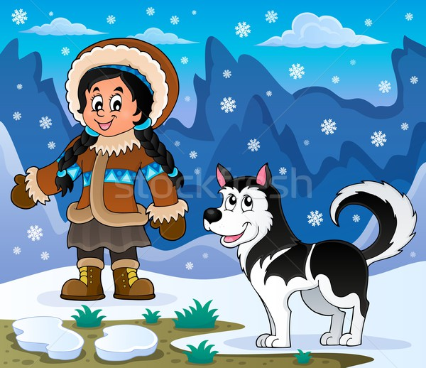 девушки Husky собака улыбка снега искусства Сток-фото © clairev