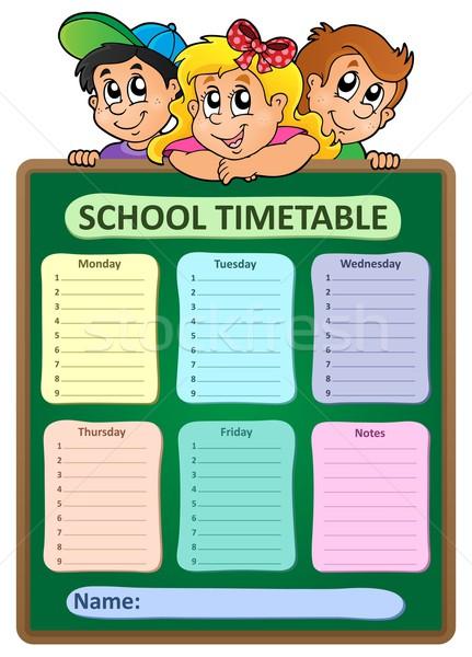 Foto stock: Semanal · escolas · horário · menina · criança · estudante