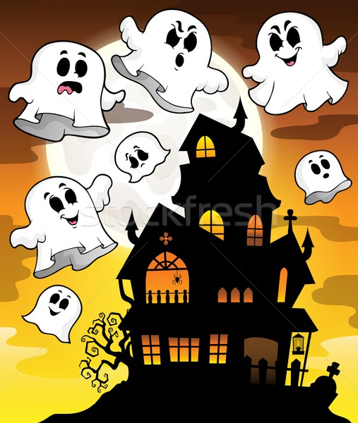 Haunted house silhouette theme image 2 Stock photo © clairev
