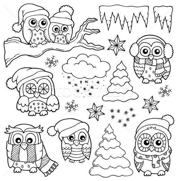 Winter owl drawings theme 1 Stock photo © clairev